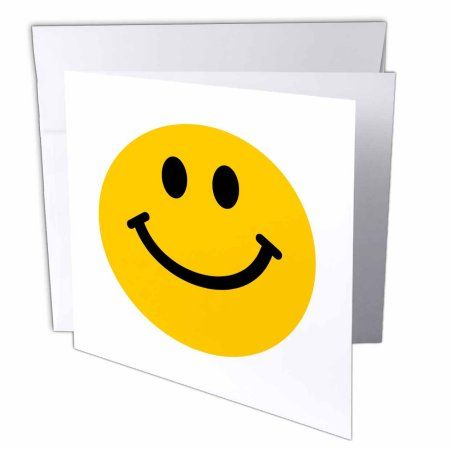 3dRose Yellow Smiley Face - Cute Traditional Happy Smilie - 1960s Hippie style - Smiling on white, Greeting Cards, 6 x 6 inches, set of 12