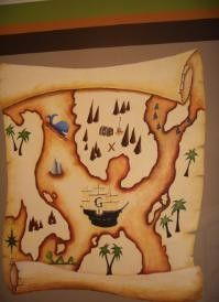 Treasure Map: My love of pirates inspired my pirate nursery theme for my son-to-be. First, I chose the accent colors of orange, chocolate and pistachio green for the