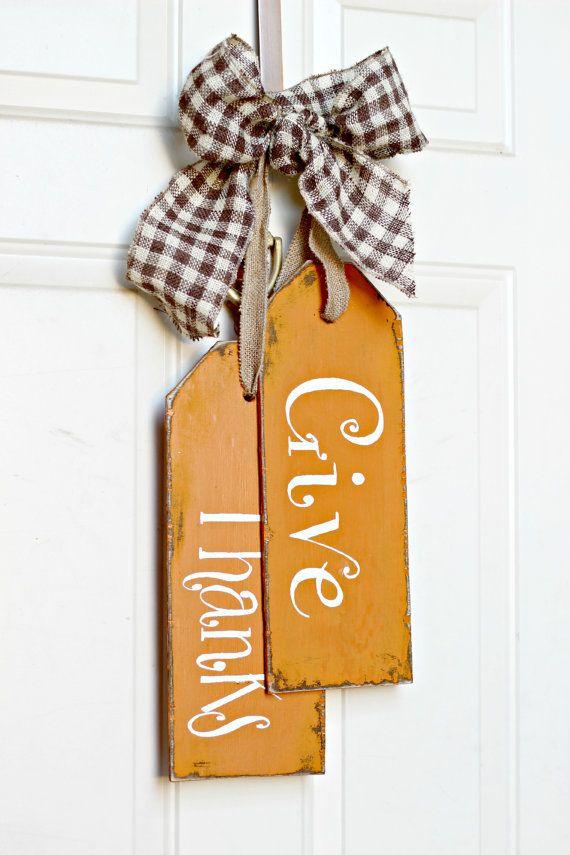 Door Decor, Fall-Autumn, Give Thanks door tags