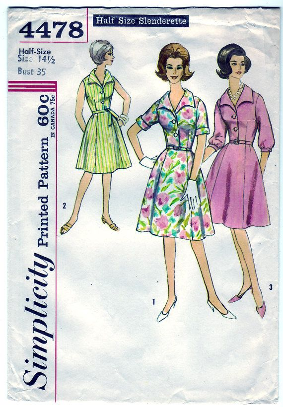 Vintage 1962 Simplicity 4478 Sewing Pattern Misses' and Women's One-Piece Dress Size 14-1/2 Bust 35. $14.00, via Etsy.
