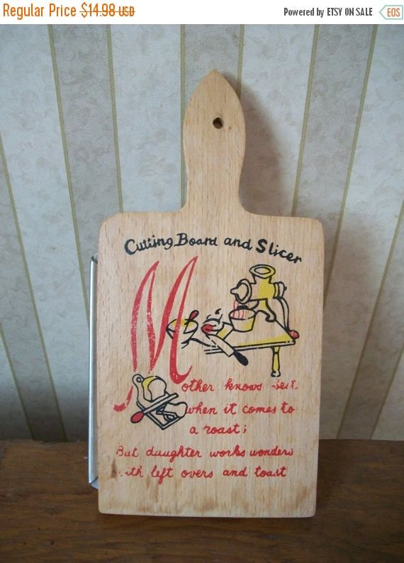 ON SALE 20% OFF Vintage Wooden Kitschy Cheese Cutting Board