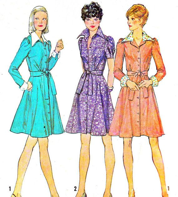 1970s Dress Pattern Simplicity 6554 Fit and Flare Dress Flared Skirt Front Button Shirtdress Womens Vintage Sewing Pattern Bust 34
