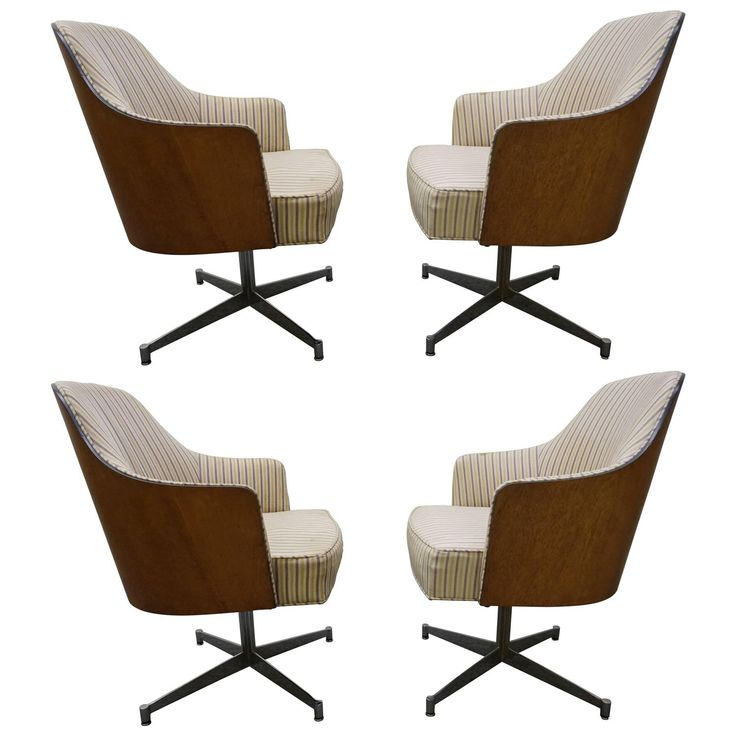 Four Milo Baughman Style Teak Back Swivel Dining Chairs Mid Century Modern