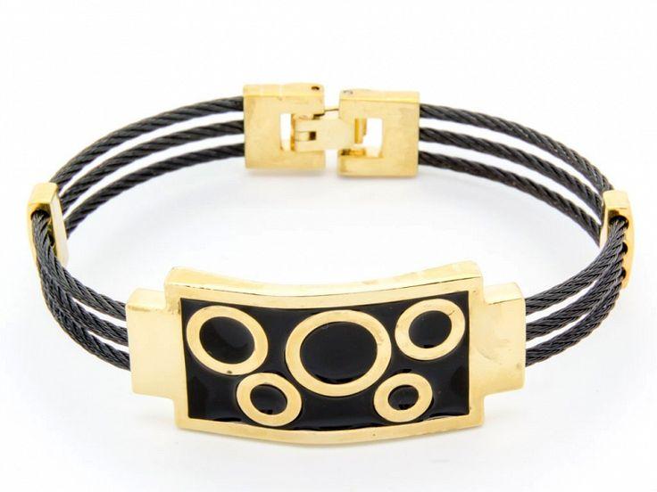 Fekete arany színű nemesacél karkötő