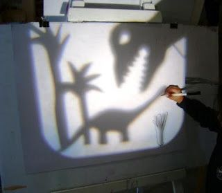 My son has been learning about light and shadows - how great to do it with Dinosaur