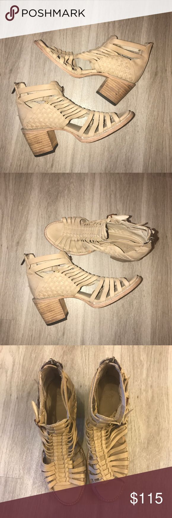 """Freebird by Steve Madden Totem Heeled Sandal In excellent used condition, worn twice! Freebird by Steve Madden Nude Heeled Sandal. Size 9 but these run Large. Better for a 9.5. Heel is 3"""". All genuine leather. Zipper back closure. Super comfortable for all day wear.   🚫Trades/Holds🚫 🚫Modeling🚫 🚫Will NOT accept lowball offers!🚫 📦Ships Same or Next Day📦 Freebird by Steven Shoes Heels"""