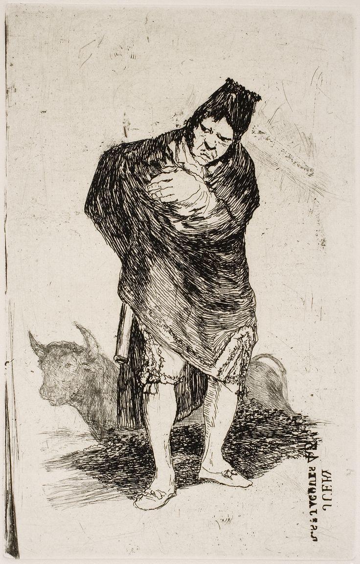 "Francisco de Goya: ""Contrabandista andaluz"". Serie ""Últimos caprichos"" [5]. Etching, aquatint, drypoint, scraper and burnisher, 191 x 122 mm, 1826-28. Museo Nacional del Prado, Madrid, Spain"