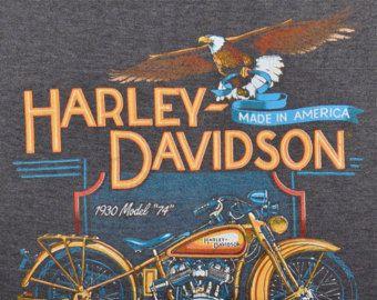 Vintage años 80 1988 HARLEY DAVIDSON motos papel fino T sin mangas camiseta M L