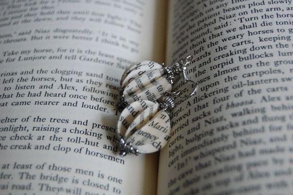 Upcycled libro sferica carta orecchini, orecchini di carta, orecchini eleganti, Best Seller orecchini