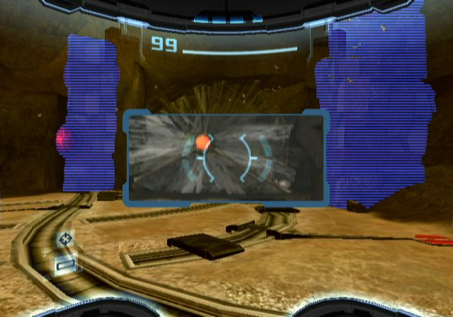 Metroid Prime 2: Echoes Screenshot: Using the scan visor to search...