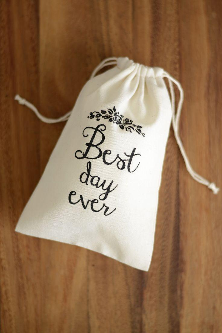 Best day ever wedding favour bag, wedding thank you bag, muslin favor bag, bomboniere bag, wedding gift bag, small gift bag for wedding, DIY wedding favour, DIY bomboniere