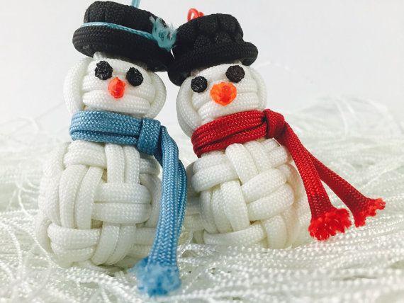 Handmade Paracord Snowman Christmas Ornament by SurfCityParacord