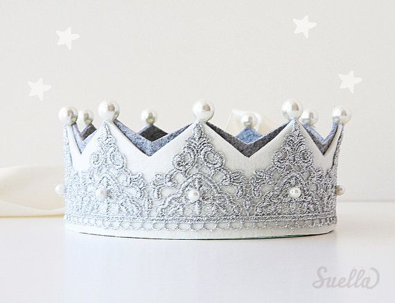 Silver Lace on creamy ivory Felt Mary Antoinette Crown with pearls Girls Party