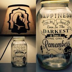 25 Magical Gifts That Every Harry Potter Fan Needs: Mason Jar Lamp bearing an important message!