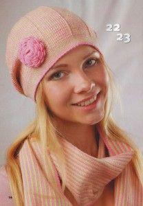 Шапочка с розочкой и шарф для женщин, вязаные крючком