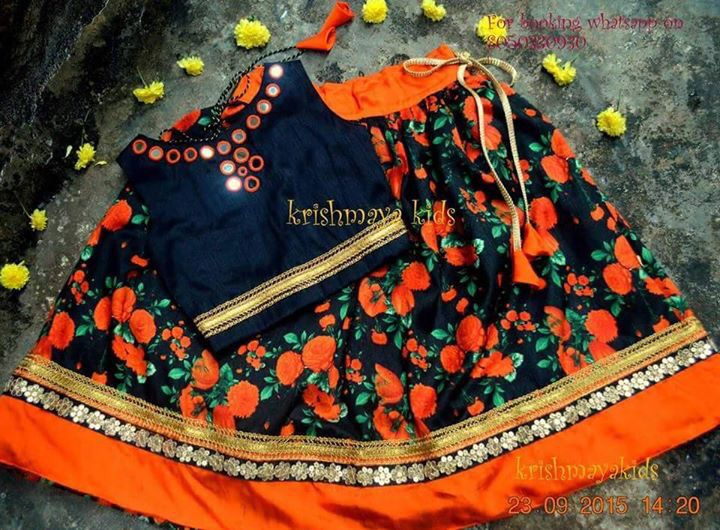 Floral Skirt with mirror work choli..ideal for this wedding season Get it done by www.fabdarzi.com