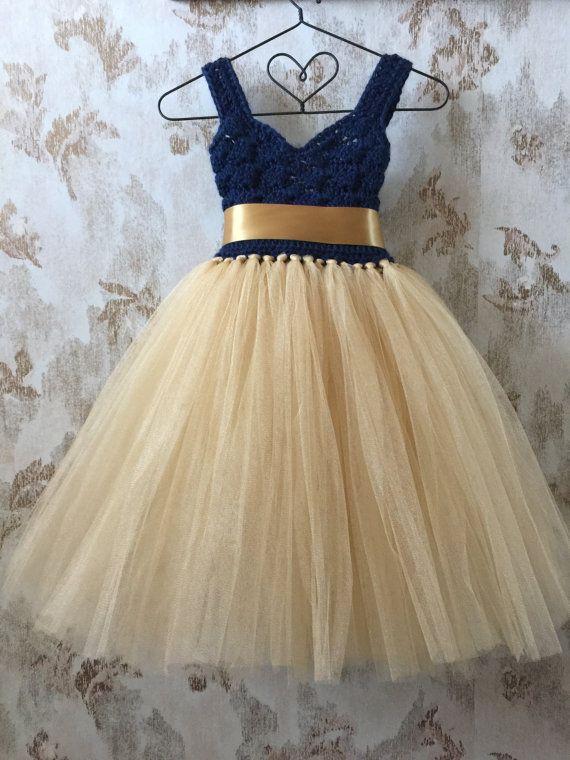 Navy and gold empire flower girl tutu dress, crochet sweetheart neckline tutu dress, baby tutu dress, toddler tutu dress, wedding tutu dress