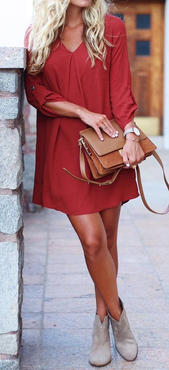 cool ootd red dress + boots + bag
