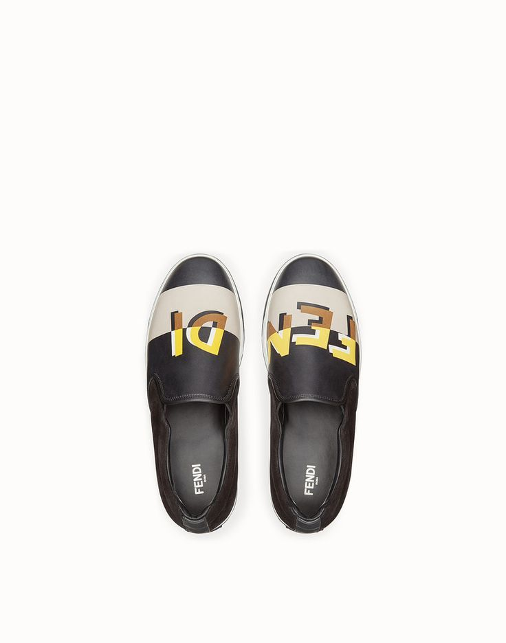 FENDI SNEAKERS - Multicolor leather slip-ons - view 4 detail
