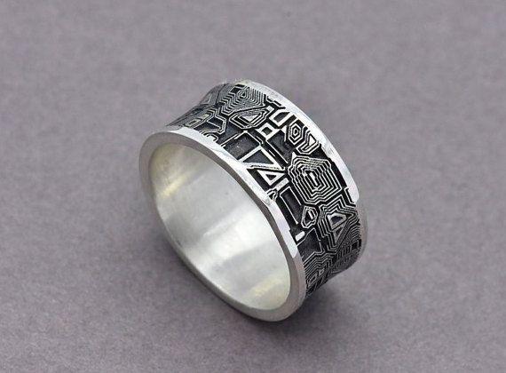 Techie Black Silver Circuit Board Pendant Circuit Board Jewelry
