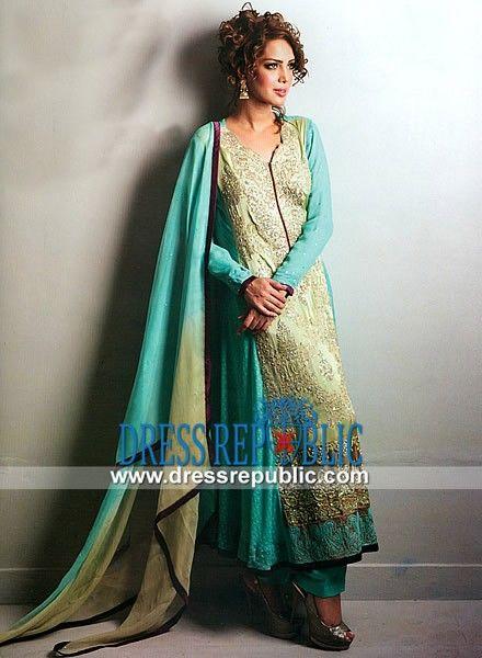 Aqua Mist n Light Gold Sweet heart Neck Pakistani Designer Clothes Online in Dip Dye