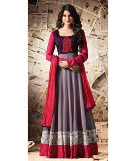 Intersting Grey And Pink Georgette Anarkali Suit.