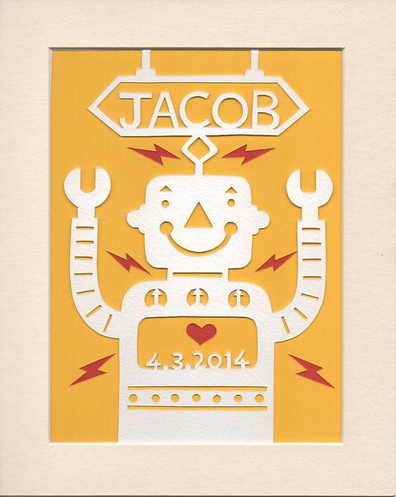 Kids Personalised Wall Art - Handcut Jolly Robot by GeraldHawksley.