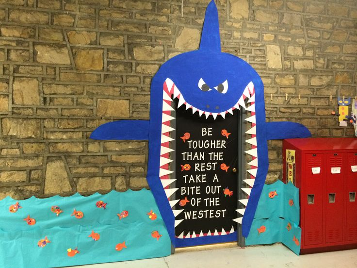 My door shark for the decorating contest teaching for What fish are biting this time of year