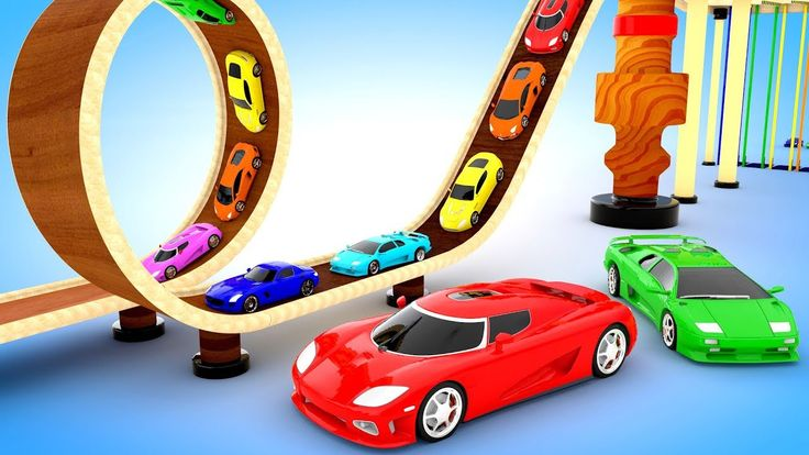 Colors for Children to learn with Coloring Toy Sports Cars, Hot Wheels T...