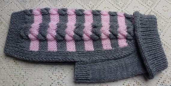 Hand knitted warm dog sweater in Cable Design by PollyandMolly