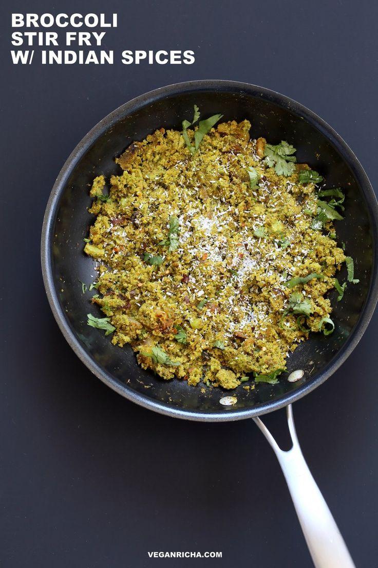 Broccoli Stir fry with Indian Spices - Broccoli Sabji with mustard seeds, coriander, fenugreek, turmeric & cinnamon. 1 pot, 20 mins.Vegan Gluten-free Soy-free Broccoli Recipe.