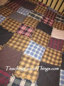 Old Flannel Shirts into a Rag Quilt