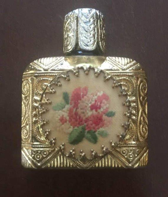 Rare Antique Victorian Miniature Perfume Bottle Flowers
