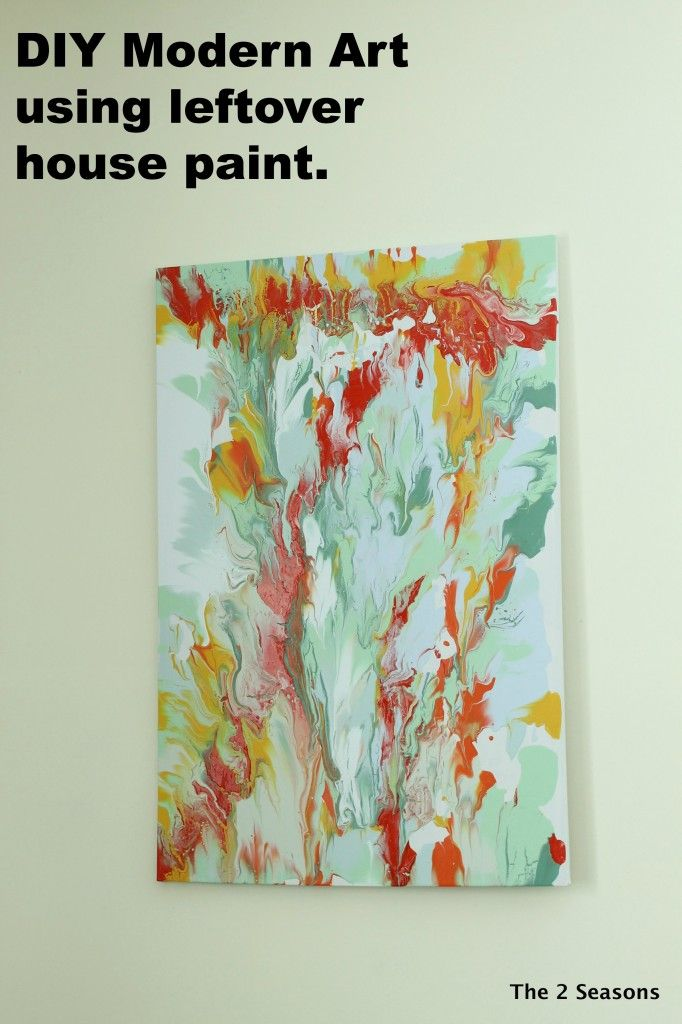 DIY Modern Art using leftover house paint.  Great tutorial on how to make fun…