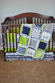 Custom handmade elephant nursery bedding in green, navy, gray. Elephant Nursery Decor and crib sets for Baby Boy Sizes and Pricing Available in Drop Down Menu The Modern Lime Green, Navy Blue, and Gra