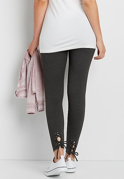 ultra soft legging with lace up bottom hem | maurices