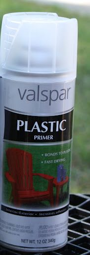 Valspar plastic primer is one of the best products to use when spray painting plastic.  Tutorial for spray painting plastic.
