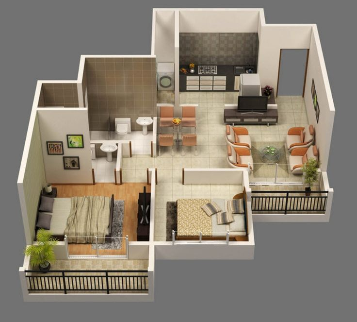 Plano de apartamento en D