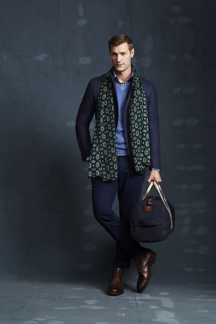 Gladstone Navy Double-Breasted Jacket; Roddick Marine Knit; Huffington Green Shirt; Ayres Ink Trouser; Prost Green Scarf