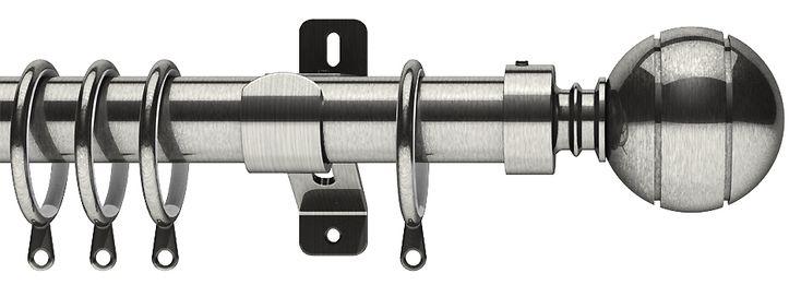 Swish Elements Lexington 28mm Metal Curtain Pole, Satin Steel
