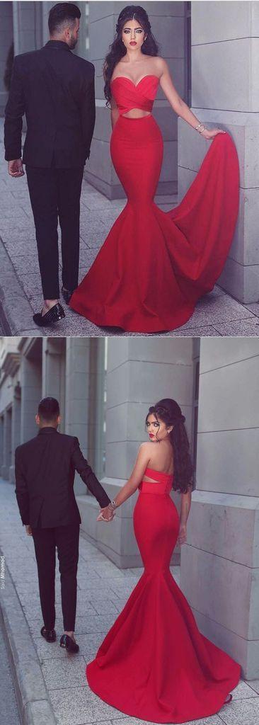 charming 2017 red sweetheart mermaid long prom dress, BD6449