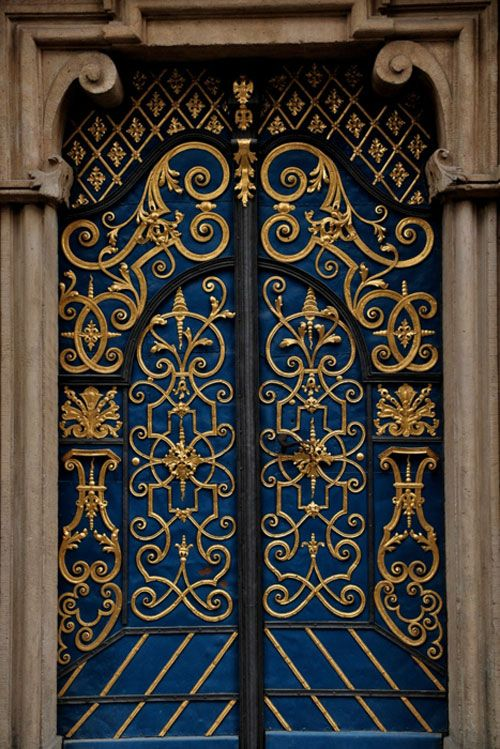 Ornate Door in Gold and Blue