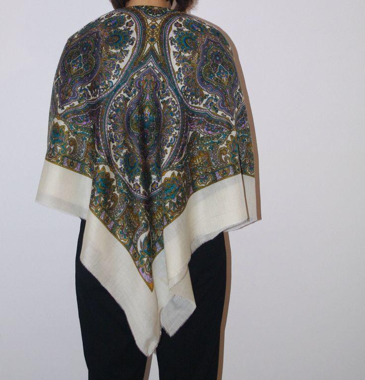 Russian Big Shawl White Green Brown Folk Scarf Traditional Slavic ornaments Russia wool Ukrainian shawl Bohemian shawl Boho Wedding shawl by VintagePolkaShop on Etsy