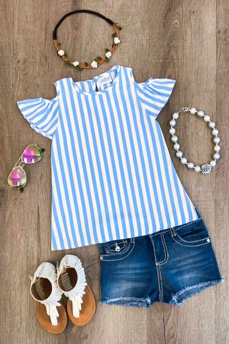 Blue & White Stripe Open Shoulder Shirt