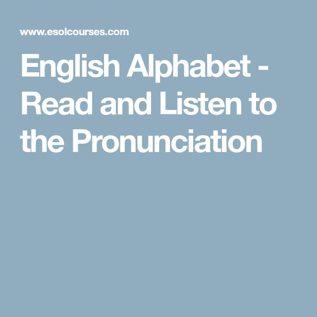 English Alphabet - Read and Listen to the Pronunciation