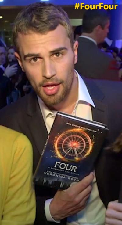 Yes, yes, that is a photo of Four holding FOUR: A DIVERGENT COLLECTION.Tune in here and on Facebook.com/DivergentSeries TOMORROW (4.4.14) for our #FourFour Day celebration! We'll have giveaways, video, the 1st teaser quote from FOUR, and a lot of swooning for Theo James (amongst other things).