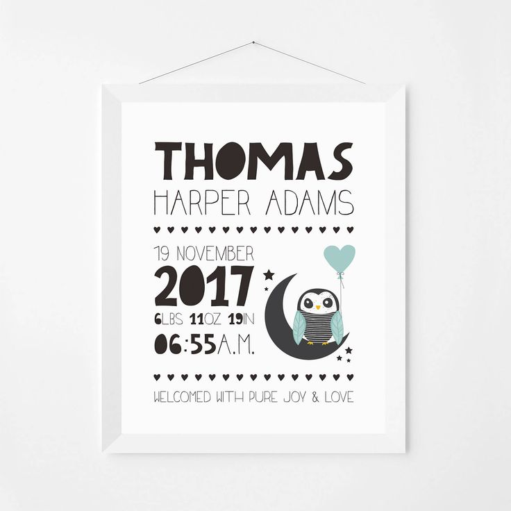 Birth announcement wall art print. Personalised birth poster. Baby's nursery announcement print. Newborn art print. Nursery decor. BAP01 by PenguinGraphics on Etsy