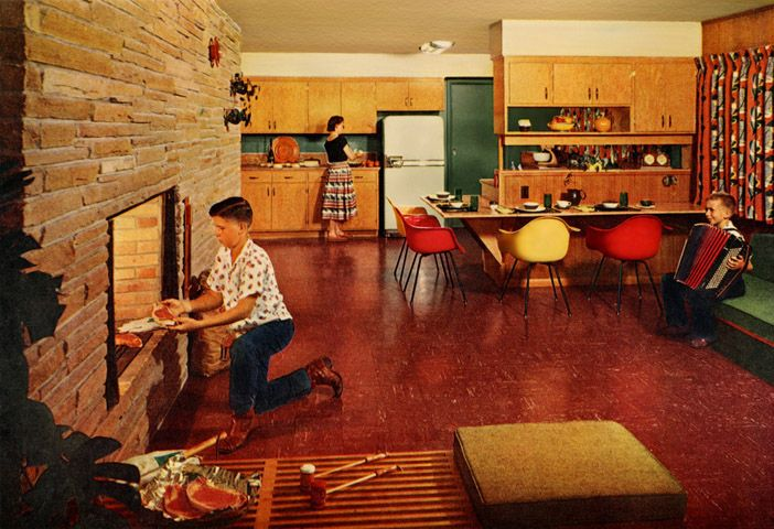 Even youngsters will try their hand at coaxing a steak to perfection over glowing coalsPlan59 :: Retro 1940s 1950s Decor & Furniture :: In the Kitchen, 1957
