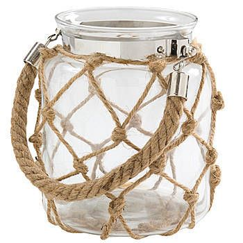 Add a beautiful rustic look to any celebration with our Nautical Lantern Candle Holder. This glass centerpiece measures 6.3 inches tall x 5.5 inches in diameter.