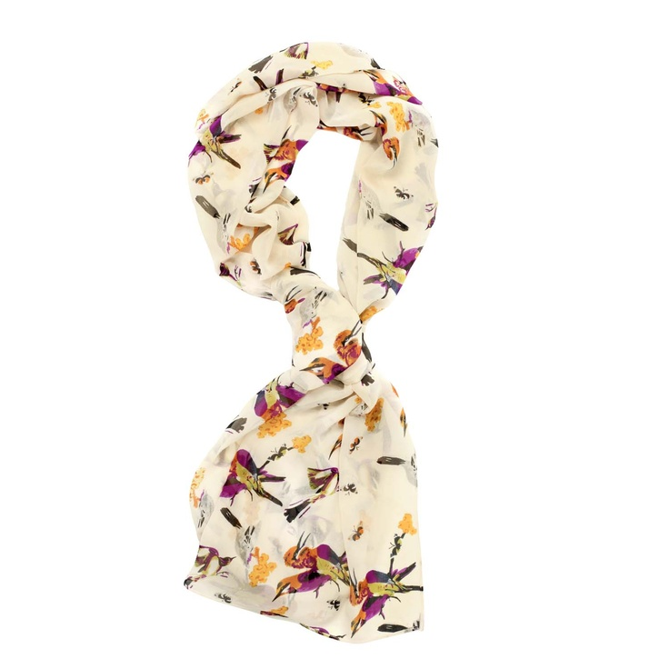 Evelyn Bird Print Scarf (Cream)